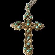 SALE Turquoise,enamel gilt cross on chain, 1900 - 1920.