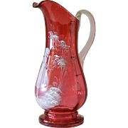 SALE An antique  cranberry ' Mary Gregory ' glass jug depicting a girl in a garden, 1900c.