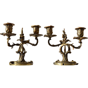 SALE Pair of French bronze candlesticks by H. Voisenet, 1870-1892.