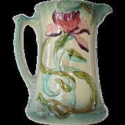 SALE Majolica cream pitcher, French, 1900 circa.