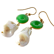 SALE Pair of pearl (cultured ) and jade drop earrings; the earrings are mounted in gold ...