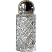 SALE A vintage cut glass silver ( 925 ) topped sugar shaker, 1980 c.