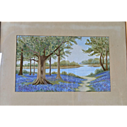 SALE A silk embroidered panel, Swiss, 1940c.