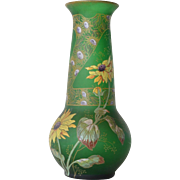SALE Aesthetic Movement Enamelled Green Glass Vase, 1860 to 1880.