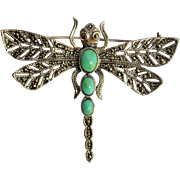 SALE A sterling silver ( 925 ) dragonfly brooch,  vintage European.