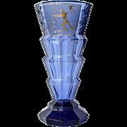 SALE A blue glass vase, probably Moser, 1930c.