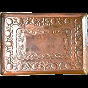 SALE An Arts & Crafts square copper tray, 1900c.