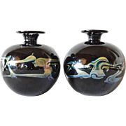 SALE Mdina, pair of art glass vases, 1975c.