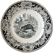 SALE An Opaque de Sarreguemines decorative plate, 1875 - 1900.