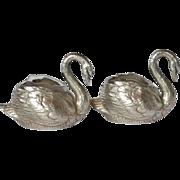 SALE WMF, Britannia Metal , silver-plated, Pair Of Swan Salts, circa 1900