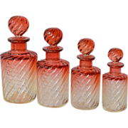 """SALE Four Baccarat """" Amberina"""" glass scent bottles."""