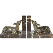 Bookends, art deco, G. Limousin, marble with a bronze deer apiece.