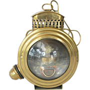 SALE Small, rare,19th century, brass bulls-eye kerosene lamp.