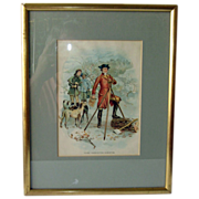 """SOLD Antique Lithograph of """"Young Washington, Surveyor"""" - Red Tag Sale Item"""