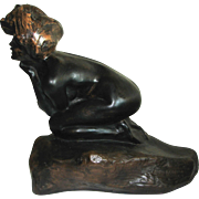 REDUCED Bronzed Replica of a Kneeling Nude by  R.H. Recchia