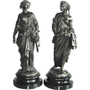 REDUCED Two Antique 19th C. Bronzed  Neoclassical Statues of The Seasons