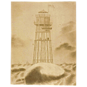 REDUCED Two 19th Century Framed Pictures of Minot's Light off Scituate, MA