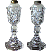 REDUCED Pair of Antique Boston & Sandwich Glass Whale Oil Lamps