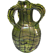 REDUCED Large Pallme-Konig Green Veined Iridescent Art Glass Vase Ca1900