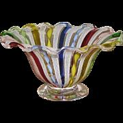 REDUCED Venetian Murano Rainbow Latticini Bowl