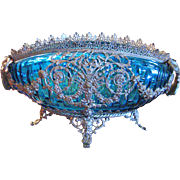 Vintage French Blue Oval Bowl with Ornate Silver Holder