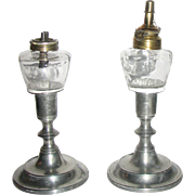 REDUCED Pair Pewter Candlesticks with Whale Oil Peg Lamps