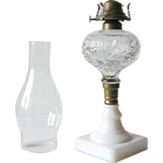 REDUCED Pressed Glass Fluid Lamp with Milk Glass Base