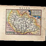 REDUCED MAINE – La Mans, Cenomani Rum Typus Map CA 1609
