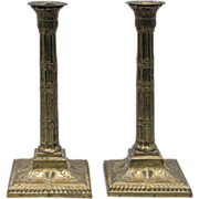 REDUCED Pair of Antique 19th Century Brass Candlesticks in Adam form