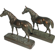 "REDUCED Pair of Vintage 8 "" Bronze Clad Horse Bookends"