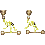 Pair of Frog Form Cold Painted Bronze Candlesticks