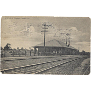 Surveyors at RR Station Passaic, NJ - Vintage RPPC – 1907