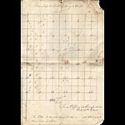 Plan of Land Survey – Crawfordsville, Indiana – 1838