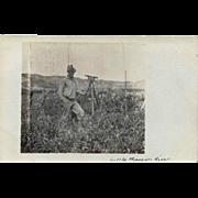 Antique Real Photo Post Card – Surveyor & Transit, Little Missouri River Ca. 1910
