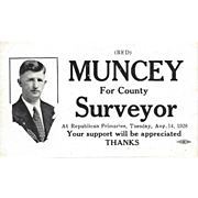 1928 Political Card – Red Muncey for County Surveyor  - Republican