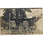 """Surveying Crew """"De Bunch"""" With Equipment - Vintage Real Photo Post Card 1908"""