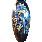 Large French Handpainted Limoges Porcelain Vase - Parrots