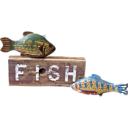 Pair of Antique Carved Wooden Fish Decoys and Sign