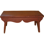 REDUCED Antique Wooden Painted Pine Footstool