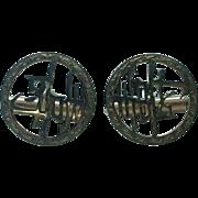 "gent's 14K Chinese symbol ""long life"" cufflinks"