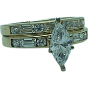 Lady's 2 pc Cubic Zirconia 14K gold wed/eng set