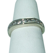 SALE Lady's  14K white gold diamond  contour ring