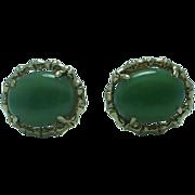 Gent's  14K gold nephrite jade cufflinks