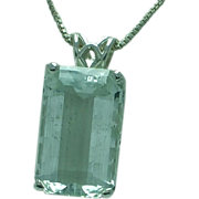 Lady's sterling aquamarine pendant and chain