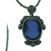 SALE Lady's sterling glass cameo with marcasite accents
