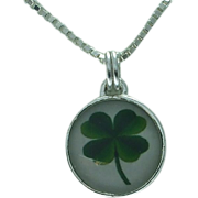 Sterling lucky clover pendant and chain.