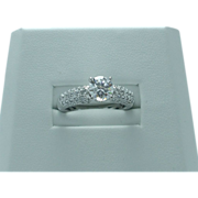 Lady's sterling cubic zirconia engagement ring