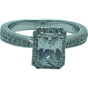 Lady's sterling and cubic zirconium engagement ring