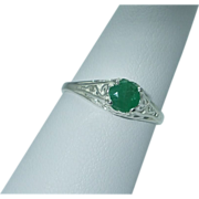 Lady's sterling emerald ring