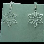 Lady's sterling snowflake  clip back drop earrings